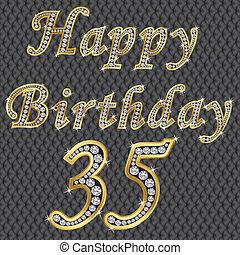 Happy 35 birthday, golden with diamonds, vector
