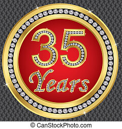35 years anniversary, happy birthday golden icon with...