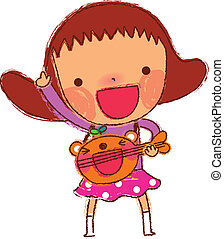 portrait of Girl playing guitar