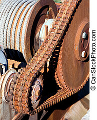 Rusty chain transmission consist of one big and a small...