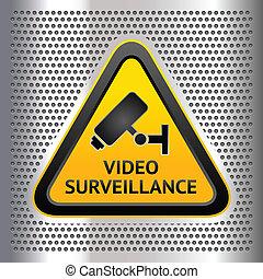 CCTV, símbolo, cromo, Plano de fondo