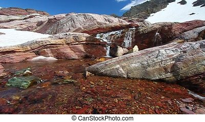 Glacier National Park Montana - Melting water at the Sperry...