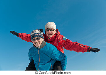 Winter fun - happy senior couple - Active senior couple -...