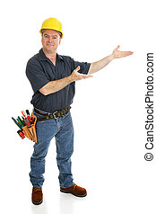 Construction Worker Presents - Construction worker with his...