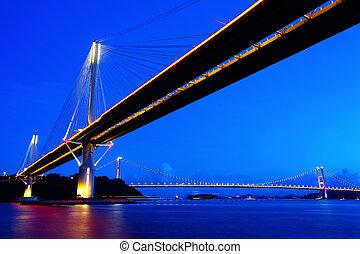Ting Kau Bridge in Hong Kong at night