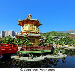 Pavilhão, jardim, Chinês