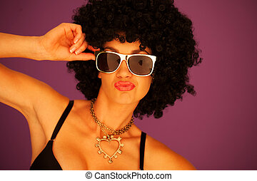 Sexy woman with black afro hairstyle and trendy modern...