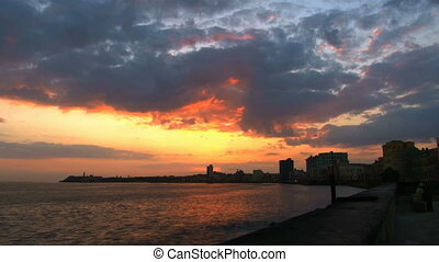 Burning sunrise - Sunrise in Malecon Havana Cuba it works as...
