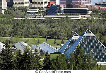 muttart conservatory - Summer view of a modern building...