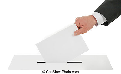 Man hand down the ballot in the ballot box - Man's hand down...