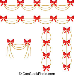 Garlands of gold beads with a red bow