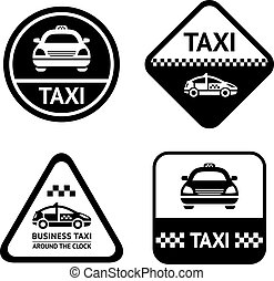 Taxi cab set black buttons, design element