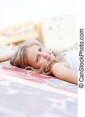 portrait of a cute child girl blonde