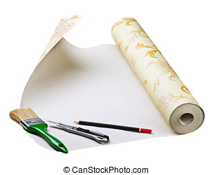 paper wallpaper and tools for sticking on a white background...