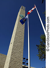 Edmonton\\\'s City Hall - Clock tower and flags at...