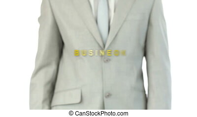 Man pressing holographic business b - Man pressing...