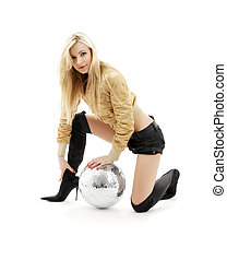 golden jacket girl with disco ball #3 - party dancer girl in...