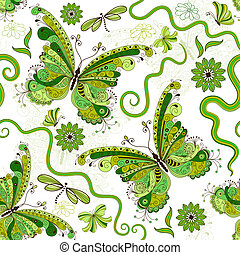 White-green floral pattern