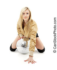 golden jacket girl with disco ball #4