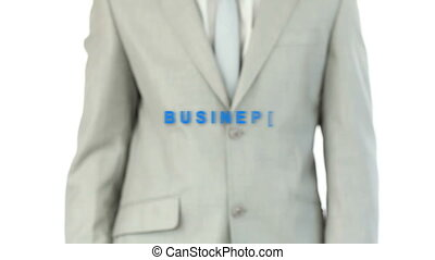 Man touching the word business against white background