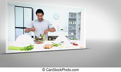 Clip of man happily preparing salad on white background with...