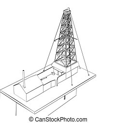 Oil derrick sketch, foreshortening in perspective. Vector...