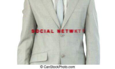 Business man pushing the social net - Businessman pushing...