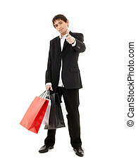 shopping man 2 - handsome man with shopping bags over white