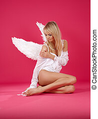lonely angel - picture of lonely angel girl over pink