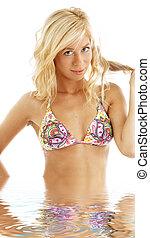 bikini blonde in water #2 - picture of colorful bikini...