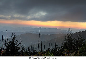 Clingmans Dome ridges in sunset hues - Sunset hues linger on...
