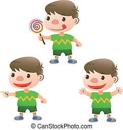 cute boy with lollipop and actions
