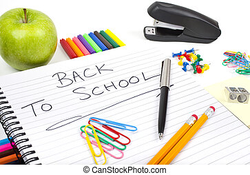 Back To School - Stationery and school notebook.