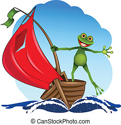 frog on a boat - funny frog on a red sail boat
