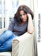 Unhappy young woman - Portrait of a nice woman looking angry