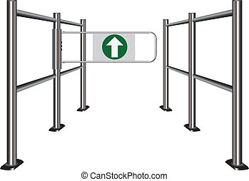 Turnstile in store - Turnstile in public places, indicating...