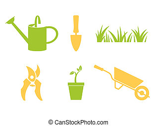 Garden icons set - Garden objects & design elements isolated...