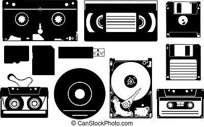 digital storage devices isolated on white