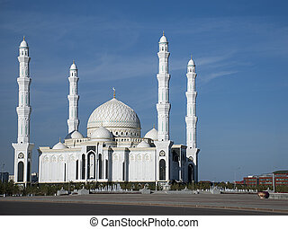 New Mosque of Astana - The Hazrat Sultan Mosque in Astana,...