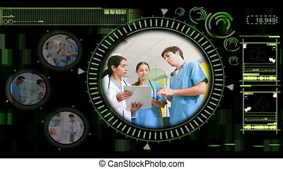 Hand selecting videos of doctors in