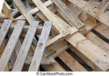 pilha, madeira, Pallets, transporte, material