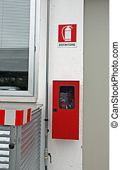 warning sign of presence in a factory fire extinguisher -...