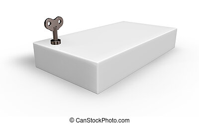 wind-up - box with wind-up key - 3d illustration