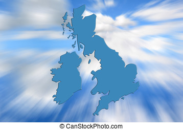 UK and ireland map - Outline map of UK and Ireland over zoom...