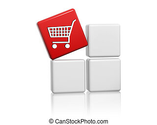 red cube with shopping cart sign on boxes - 3d red cube with...