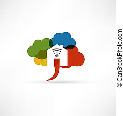 Cloud wi-fi home icon