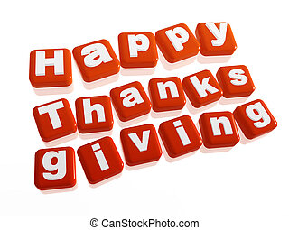 happy thanksgiving in orange blocks - text happy...
