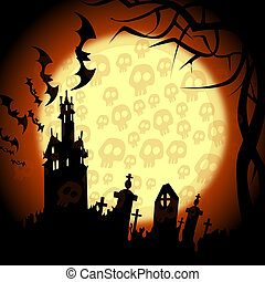 halloween churchyard, bats and skulls on the moon -...