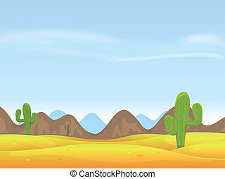 Desert Landscape Background - Illustration of a cartoon...