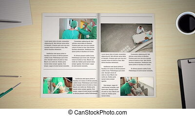 Hand turning pages of medical news magazines with various...